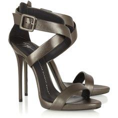 Metallic leather sandals ($315) ❤ liked on Polyvore featuring shoes, sandals, heels, heeled sandals, metallic sandals, metallic heel shoes, leather sandals and giuseppe zanotti