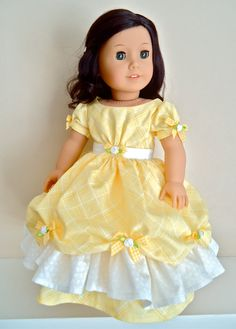 "Crinoline Party Gown ""Lemon Zest"" for Addy, Marie-Grace, or Cecile: scooped and raised overskirt, gingham ribbon and rose decorations on Etsy, $38.00"