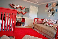 Love this red, grey, and white modern combo for a kids room!