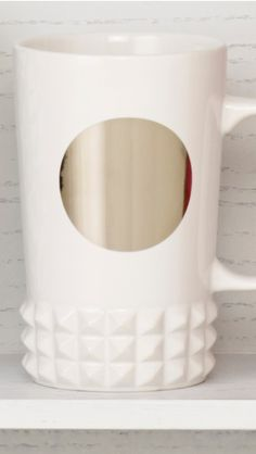 Ceramic coffee mug with mirrored dot and studded cuff around the base. #Starbucks #DotCollection