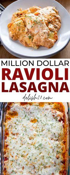 Macaroni Recipes, Pasta Recipes, Crockpot Recipes, Easy Lasagna Recipes, Dinner Recipes, Cooking Recipes, Lasagna Casserole, Casserole Recipes, Ravioli Lasagna Bake