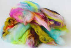 Hand carded wool fiber art batt including merino by 222Handspun, $28.00