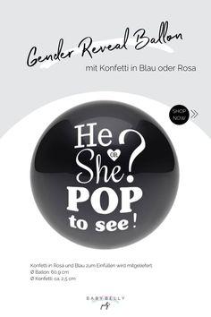 Was es wohl wird? Dieser schwarze runde Latexballon wird auf Ihrer Gender Reveal Party zum absoluten Mittelpunkt werden, wenn das Geheimnis gelüftet wird, ob Sie ein kleines Mädchen oder einen kleinen Jungen erwarten. Gender Reveal Ballons, Reveal Parties, Pop, Boy Or Girl, Boy Baby Showers, Balloons, Nice Asses, Circuit, Popular