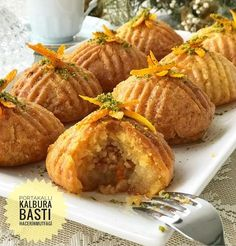 A dessert with orange grater and hazelnut in its dough nef A delicious dessert that you can serve to Ramadan Recipes, Holiday Recipes, Cooking Time, Cooking Recipes, Pasta Cake, Orange Dessert, Baklava Recipe, Delicious Desserts, Yummy Food