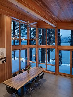 North Lake Wenatchee cabin, Seattle. DeForest Architects.  #Interiors #Lake #Home #Dining #Room #Cabin #View #Architecture #Interior #Design
