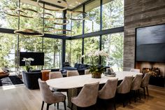 The living room and dining area of Patrick Dovigi's 7,500-square-foot home on Star Island.