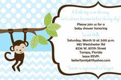 Monkey Baby Shower Invitation Girl or Boy  by PrintYourEvent, $15.00