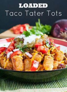 These Loaded Taco Tater Tots combine two favorites into one delicious, family friendly, 30 minute meal. Tater Tot Recipes, Potato Recipes, Beef Recipes, Cooking Recipes, Hamburger Recipes, Kraft Recipes, Whole30 Recipes, Easy Cooking, Casserole Recipes