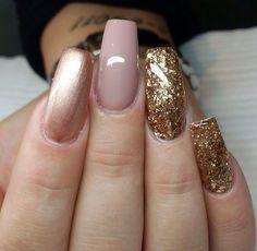 Gold sparkly flake nails and mauve nails