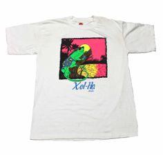 Vintage 90s Neon Gecko Xel-Ha Mexico Tourist Shirt Mens Size Large $25.00