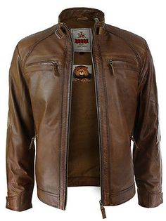 Mens Retro Style Zipped Biker Jacket Real Leather Soft Tan Brown Casual