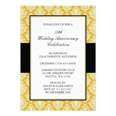 black & gold 50th wedding anniversary invitation | black gold, Wedding invitations