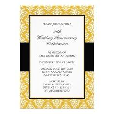Golden French Swirl Th Anniversary Invitation  Anniversary