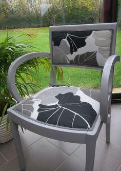 Paire de fauteuils bridges Gris et Feuilles