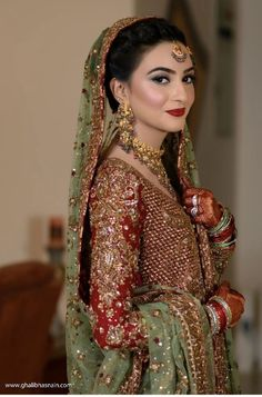 Barat bride ( I think the dress is by dr haroon ) Pakistani Wedding Outfits, Bridal Lehenga Choli, Pakistani Wedding Dresses, Pakistani Dress Design, Bridal Outfits, Dulhan Dress, Walima Dress, Gold Wedding Gowns, Wedding Wear