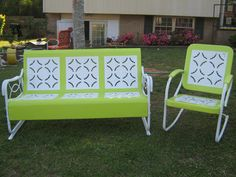 Vintage Porch Gliders in variety of colors and patterns! Call (205)874-4645 if interested or Shug44@hotmail.com