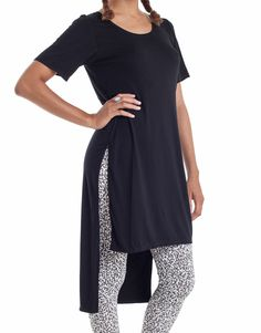 Nemis Side Split T-Shirt Dress Black Fashion 2017, Spring Fashion, Korean Streetwear, Stitch Fix Fall, Layering Outfits, Side Split, Viscose Fabric, Black Is Beautiful, Shirt Dress