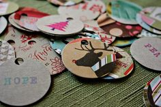Christmas tags from cereal boxes, great recycling idea, and saves on card stock.