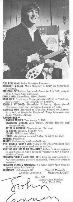 John Lennon's personal info