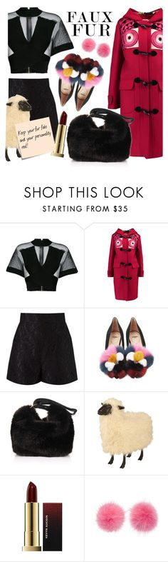 """""""Faux Fur, Real Personality!"""" by sarina-noel ❤ liked on Polyvore featuring Balmain, Stella Jean, Martha Medeiros, Fendi, Victoria Beckham, Wild & Woolly and Post-It"""