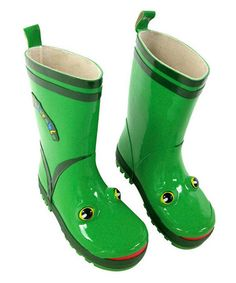 {Green Frog Rain Boot} We have a rummage pair of these and they make me smile every time our GIRLS wear them. :-) YES, girls like frogs too. {winks}