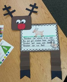 Cute Reindeer Unit: Student KWL chart, Can - Have - Are, If I had a Reindeer, Pocket Chart, and Blacklines for cute reindeer! Christmas Writing, Preschool Christmas, Christmas Crafts For Kids, Christmas Projects, Holiday Crafts, Green Christmas, Christmas Tables, Nordic Christmas, Modern Christmas
