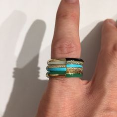 My obsession with turquoise continues! Enamel Rings, Baubles And Beads, Turquoise Jewelry, Rings For Men, Bangles, Gems, Jewels, Accessories, Instagram