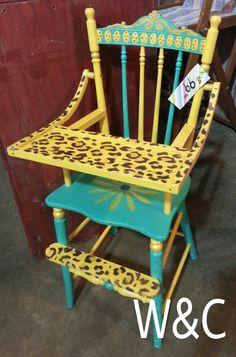 Native Stone & Marigold Plaster Paint custom done highchair.  www.wonderlandandcompany.com