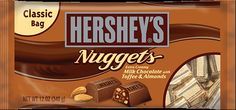 Enjoy HERSHEY'S NUGGETS Milk Chocolate with Toffee and Almonds. Extra Creamy chocolate loaded with almonds & toffee. Read nutrition info