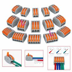 Free Shipping 10pcs Reusable Spring Lever Terminal Block Electric Cable Connector Wire - 2/3/5 Way #Affiliate