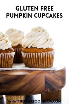 Easy to make Gluten Free Pumpkin Cupcakes that are topped with Cinnamon Cream Cheese Frosting. These simple cupcakes are the perfect fall dessert! This recipe is so easy to make and perfect for the beautiful fall weather! Whip up a batch of these deliciously autumnal cupcakes, put on your favorite sweater and fuzziest sock, and enjoy!