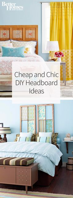 Instead of buying an expensive headboard, DIY your own! We have over 30 ideas for DIY headboards that work in children's bedrooms and adult's bedrooms. Our headboard projects include using reclaimed wood, upholstering a headboard, stenciling a headboard and many more ideas!