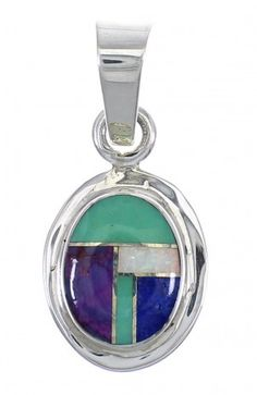 Genuine Sterling Silver And Multicolor Inlay Southwest Pendant YX67843