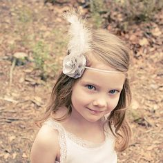 Little Girl Headband Vintage Inspired Feather Flower by LilyMairi, $25.00