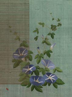 日本刺繍-朝顔すだれ越し-
