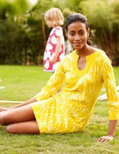 Boden Pool Party Tunic in Yellow Loopy $78