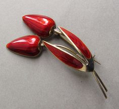 Norway Sterling And Red Enamel Tulip Vintage Brooch By Albert Scharning