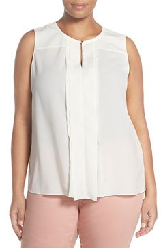 Ellen Tracy Pleat Keyhole Shell (Plus Size) available at #Nordstrom