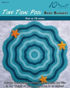 Knitting Pattern for Tiny Tidal Pool Baby Blanket - This easy and quick striped circular blanket is knit to resemble ripples in a pool. Knit in garter stitch with a picot edge and decorated with 3 knit starfish. The designer says it can be knit in 10 hours which makes it a perfect quick baby shower gift. tba garter stitch