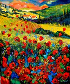 Red poppies in Tuscany (Italy) Painting at ArtistRising.com