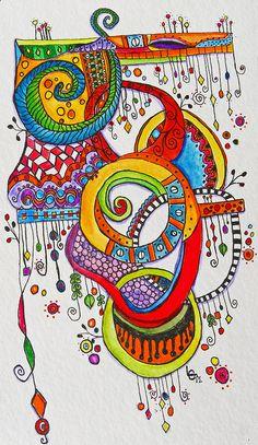 Rainbow tangle watercolor by BellaLea1, via Flickr