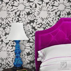 This modern flower wall stencil design is a classic and fresh alternative to wallpaper! Paint with your favorite colors on a bedroom or living room accent wall!