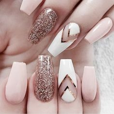 Baby Pink and Rose Gold Nails - Rose Gold Glitter Nails - Gorgeous Rose Gold Nails Perfect For Summer -Rose Gold Nail Polish, Rose Gold Chrome Nails, Rose Gold Glitter, Rose Gold Gel Nails Glitter Nail Art, Cute Acrylic Nails, Cute Nails, Rose Gold Glitter Nails, White Glitter, Nail Art Rose, Acrylic Gel, Baby Pink Nails With Glitter, Pink Sparkly Nails