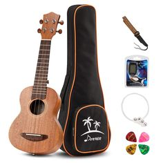 Donner Soprano Ukulele Mahogany 21 inch with Ukulele Set Strap Nylon String Tuner This is a top quality pick in the hot selling items in Musical Instruments category in USA. Click below to see its Availability and Price in YOUR country. Ukulele Soprano, Kala Ukulele, Tenor Ukulele, Ukelele, Ukulele Art, Nylons, Ukulele Straps, Thing 1, Best Vibrators