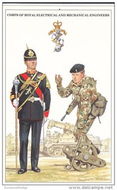 British;R.E.M.E.(Corps of  Royal Electrical and Mechanical Egineers) Drum Major, Full Dress & Recovery Mechanic in Combat dress.