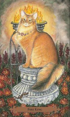 Fire King (King of Wands) - Mystical Cats Tarot