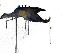 Watercolor Painting Raven Flying 8x10 Print. by Krislyndillard