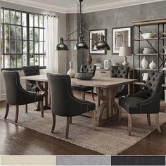 Shop Paloma Salvaged Reclaimed Pine Wood Rectangle Dining Set by iNSPIRE Q Artisan - Overstock - 14627843 - Grey Linen Bar Furniture, Furniture Deals, Dining Room Furniture, Online Furniture, Coaster Furniture, Furniture Upholstery, Quality Furniture, Dining Room Bar, Dining Room Design