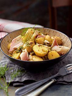 Dill-Kartoffelsalat mit Räucherforelle