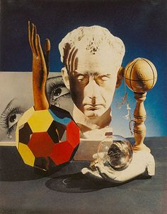 """Man Ray: Still Life, 1933 (The Getty)  """"The December 1933 issue of the Surrealist journalMinotaure published this stylish still life. The composition centers on a bust of the artist surrounded by a constellation of circular objects and hands, with Man Ray's photographLarmes (Tears) in the background. The picture seems slightly didactic, perhaps intended to indoctrinate the audience into the mystery and significance of the photographer and his creations."""""""
